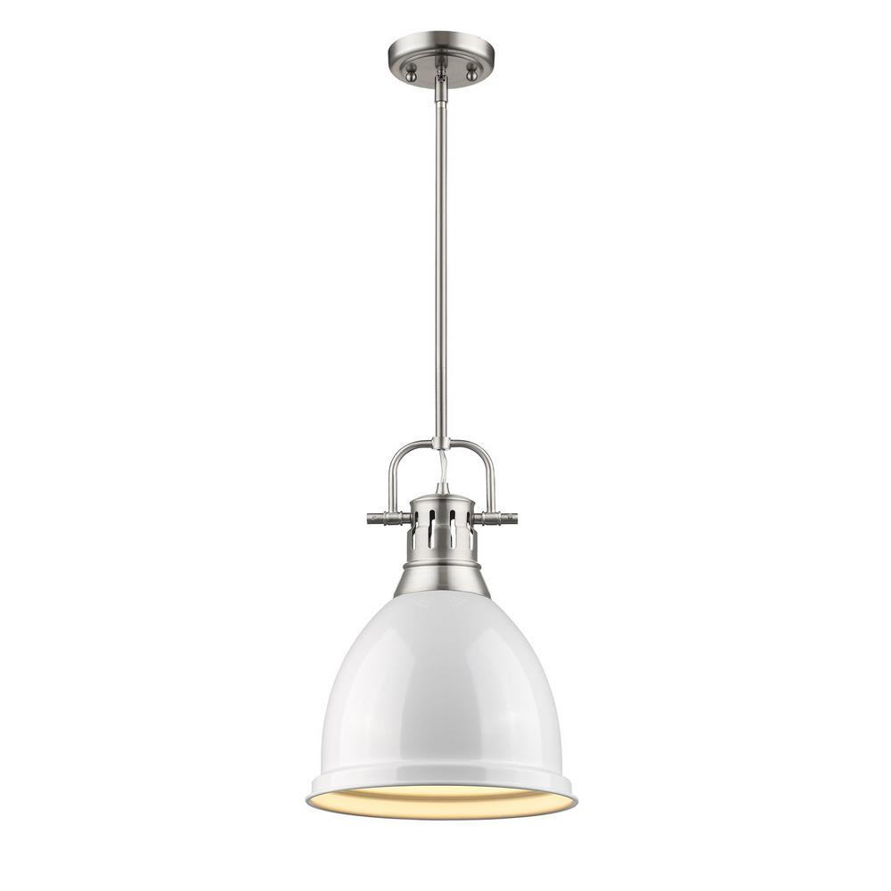 Duncan 1-Light Pewter 8.8 in. Pendant with White Shade