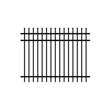 Worthington 5 ft. x 6 ft. Black Aluminum 3-Rail Unassembled Fence Panel (4-Pack)