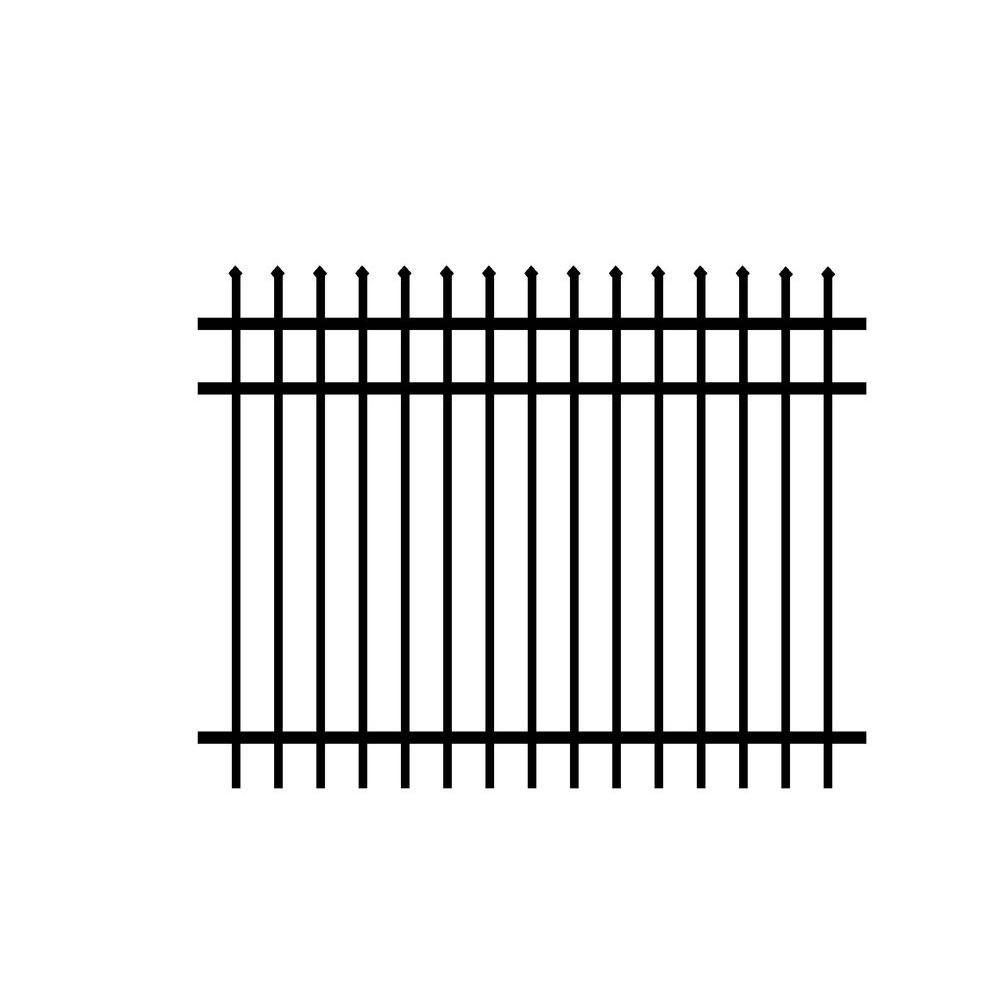 Washington 5 ft. H x 6 ft. W Black Aluminum 3-Rail Unassembled Fence Panel