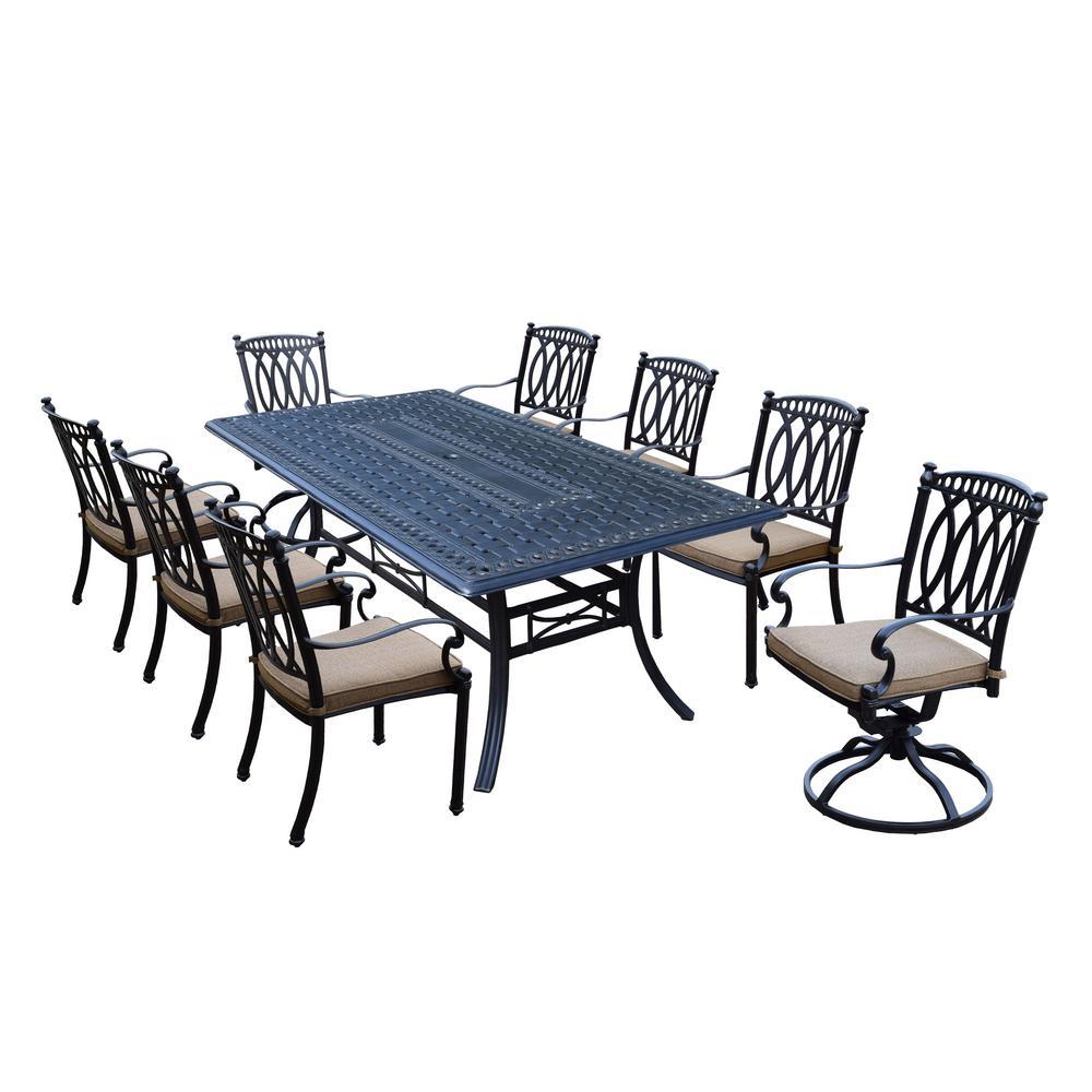 Morocco Aluminum 9 Piece Outdoor Dining Set With Sunbrella Beige Cushions