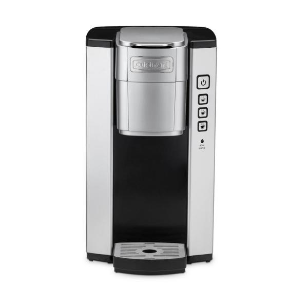 Compact Black and Silver Single Serve Coffee Maker