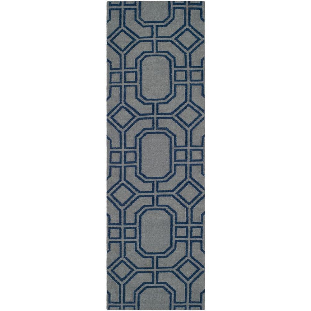 Dhurries Grey/Dark Blue 2 ft. 6 in. x 8 ft. Runner