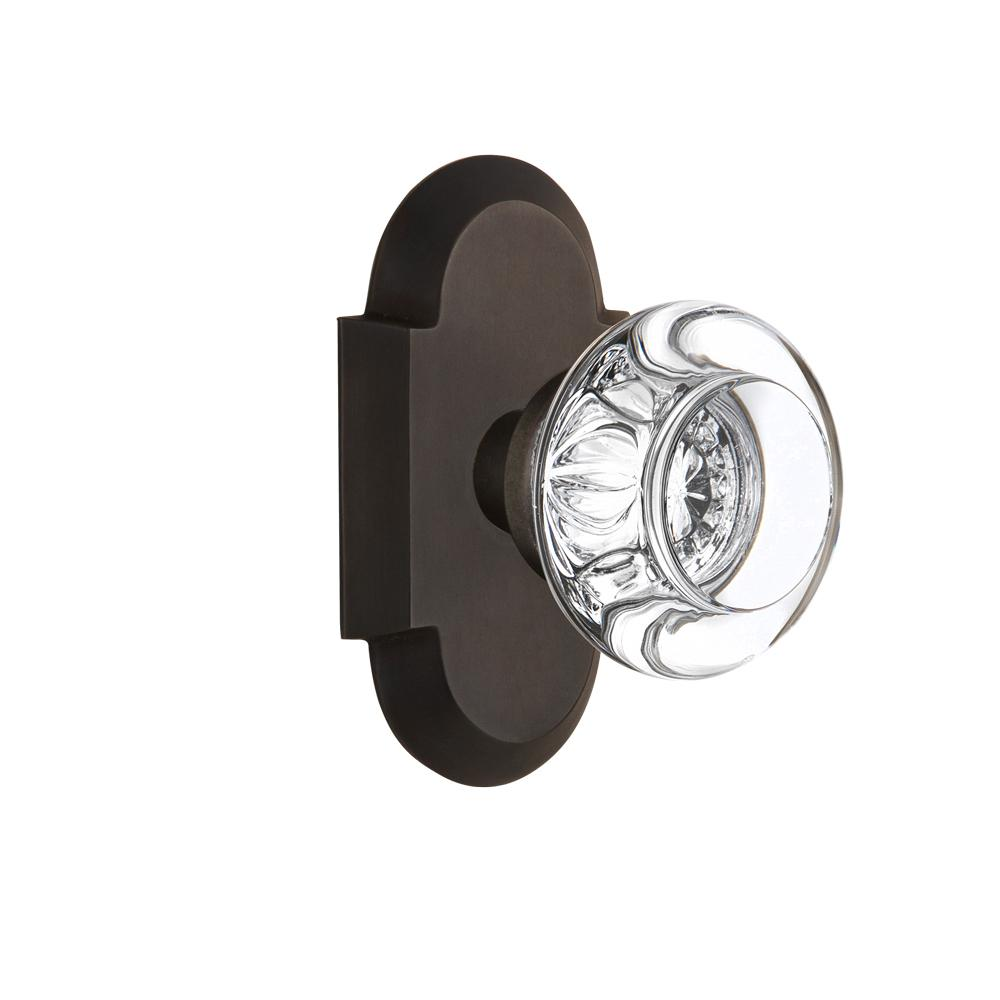 Cottage Plate 2-3/8 in. Backset Oil-Rubbed Bronze Passage Hall/Closet Round