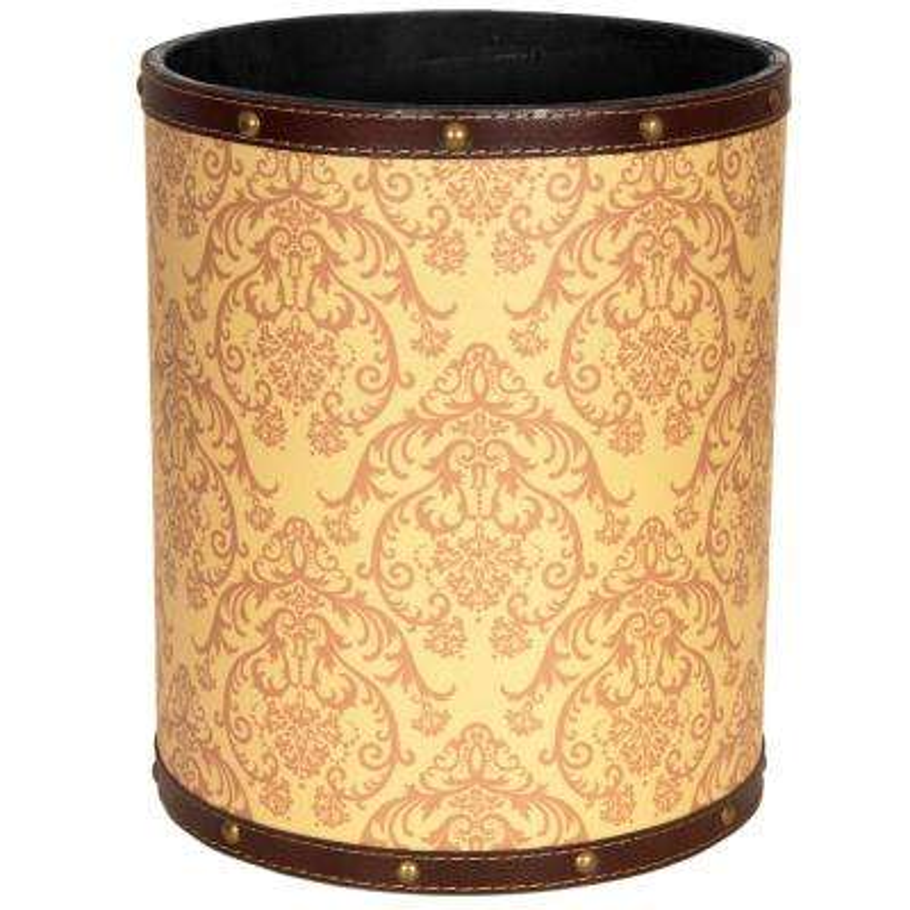 Oriental Furniture 8.25 in. x 10 in. Yellow Damask Waste Basket