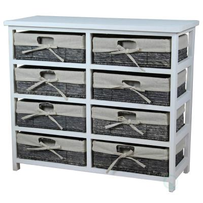 27 in. x 24 in. H Rustic White Wooden Storage Chest with 8-Fabric Lined Maize Basket Style Drawers