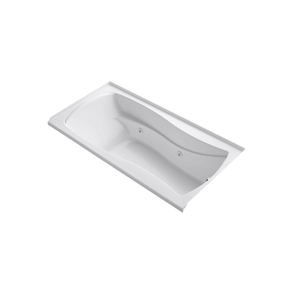 KOHLER Mariposa 6 ft. Acrylic Hourglass Rectangular Drop-in Whirlpool Bathtub in White