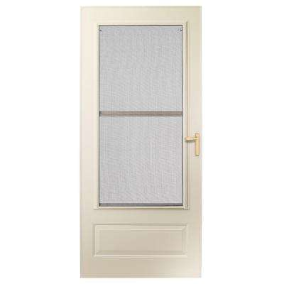 32 in. x 80 in. 300 Series Almond Universal Triple-Track Aluminum Storm Door with Brass Hardware