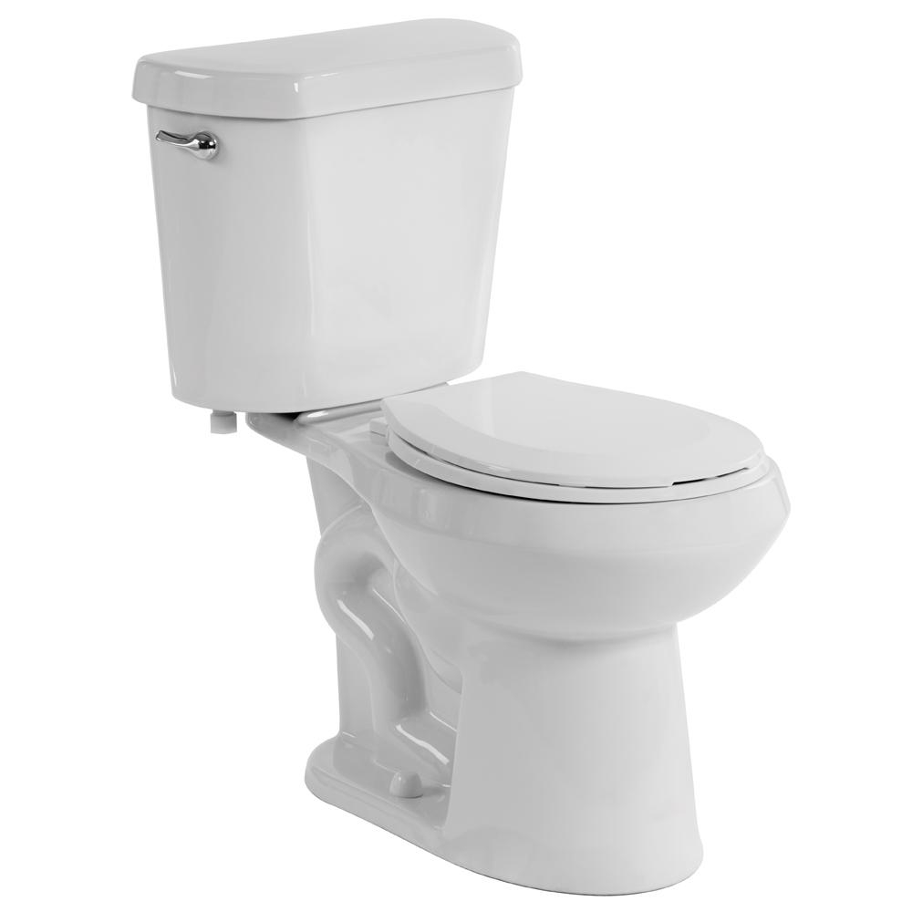 Glacier Bay 10 in. Rough-in 2-Piece 1.28 GPF High Efficiency Single Flush Elongated All-in-One Toilet in White, Seat Included