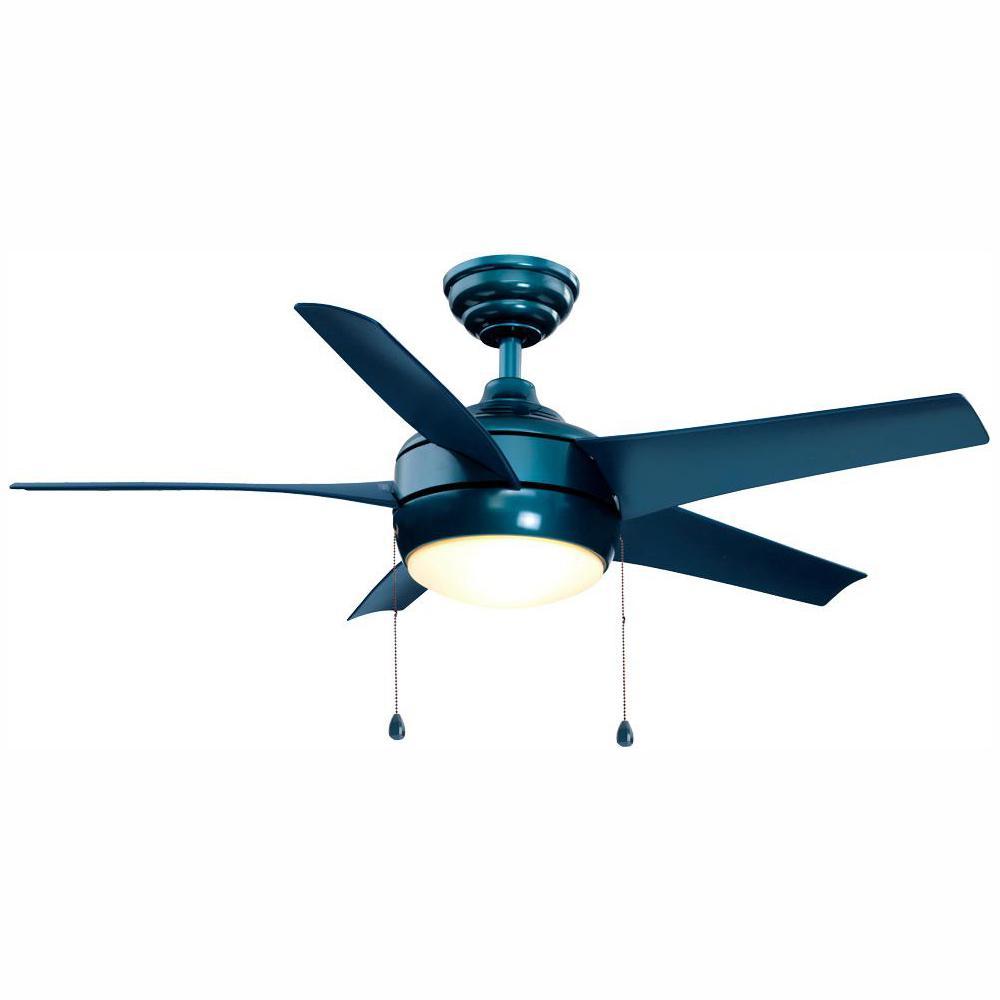 Windward 44 in. LED Blue Ceiling Fan with Light Kit