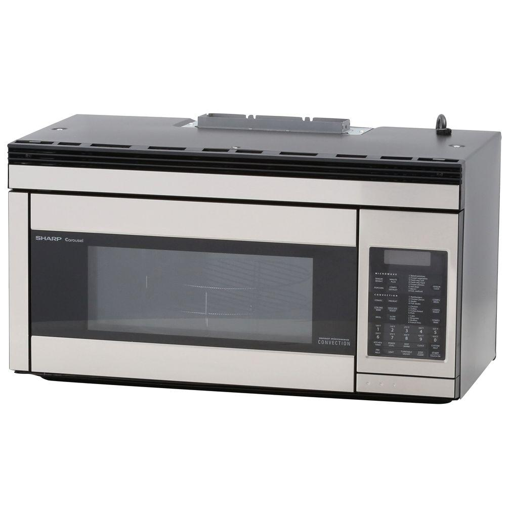 sharp 1 1 cu ft over the range convection microwave in stainless steel r1874ty the home depot. Black Bedroom Furniture Sets. Home Design Ideas