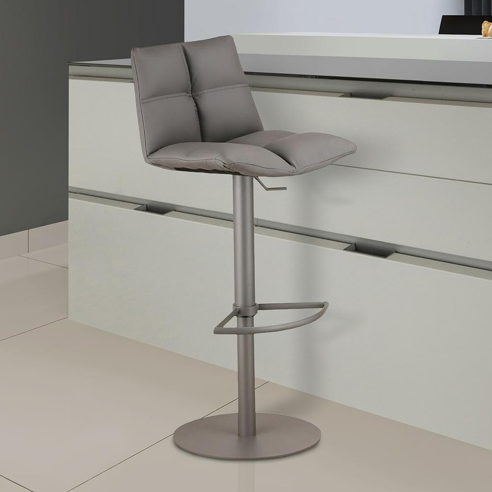 Armen Living Roma 33 In. Gray Faux Leather And Gray Metal Finish Adjustable  Barstool
