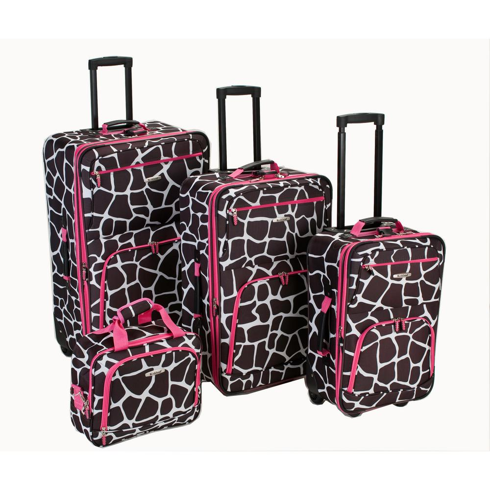 4-Piece Luggage Set, Pinkgiraffe