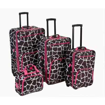Rockland Beautiful Deluxe Expandable Luggage 4-Piece Softside Luggage Set, Pink Giraffe