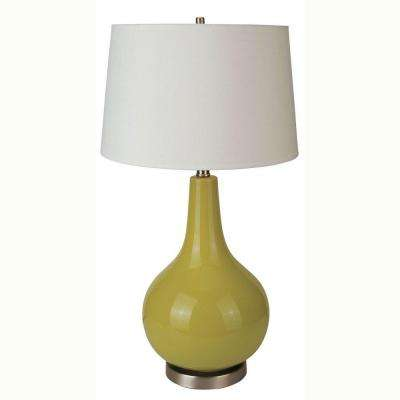 28 in. Ceramic Apple Green Table Lamp