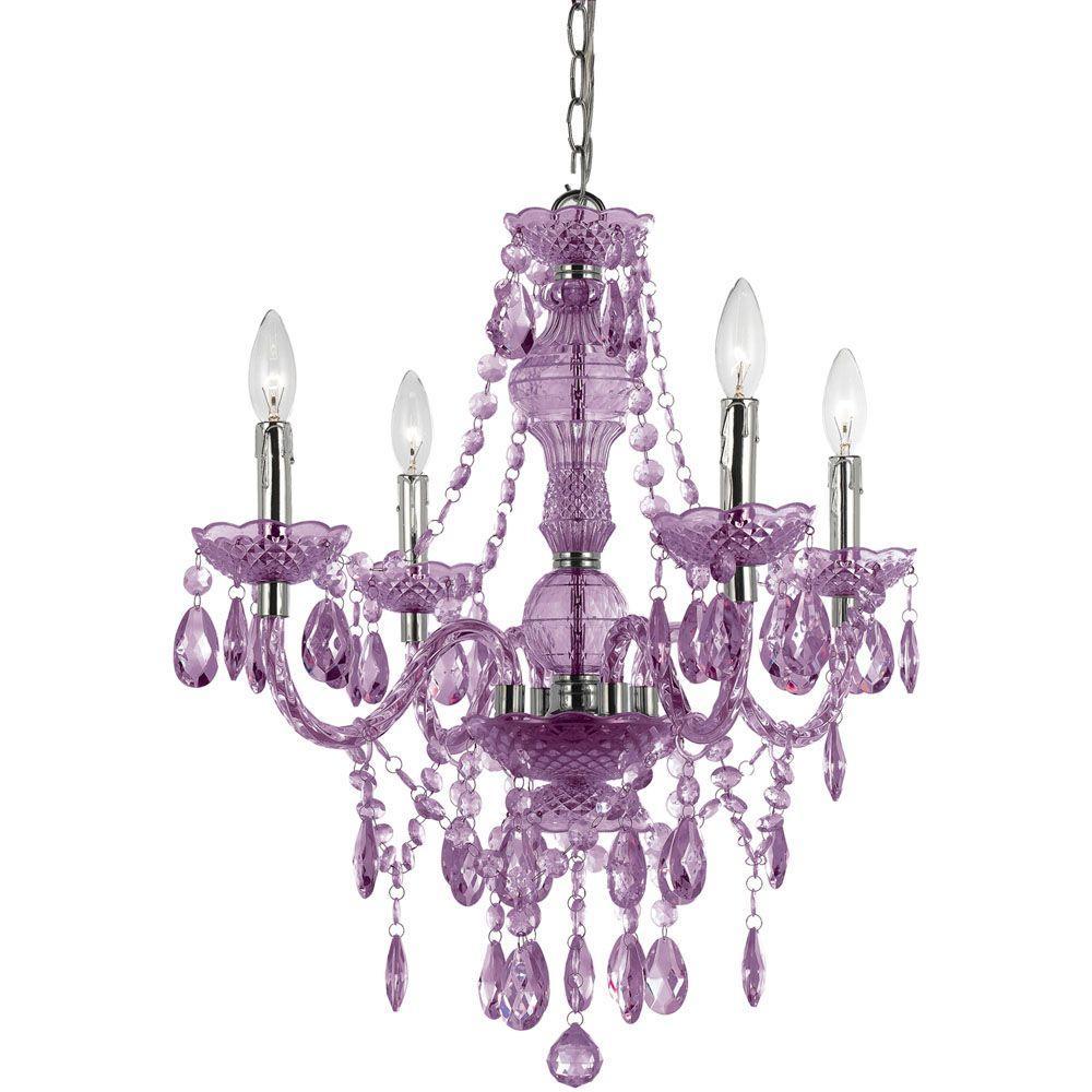 Naples 4-Light Purple Mini Chandelier