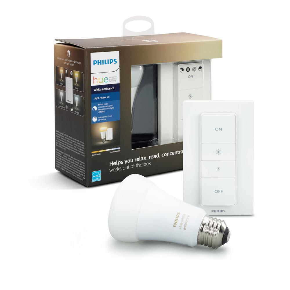 Philips Hue White Ambiance Smart Wireless Lighting Recipe Kit (1 A19 LED  60W Equivalent Dimmable Bulb and Remote Dimmer Switch)