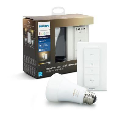 White Ambiance Smart Wireless Lighting Recipe Kit (1 A19 LED 60W Equivalent Dimmable Bulb and Remote Dimmer Switch)