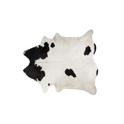KOBE COWHIDE WHITE & BLACK 5 ft. x 7 ft. AREA RUG
