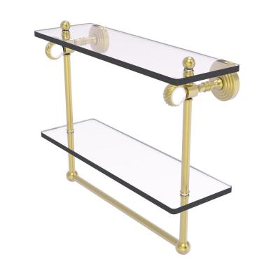Pacific Grove 16 in. Double Glass Shelf with Towel Bar and Twisted Accents in Satin Brass