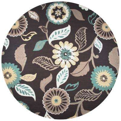 Azzura Hill Espresso Floral 8 ft. x 8 ft. Round Outdoor Area Rug