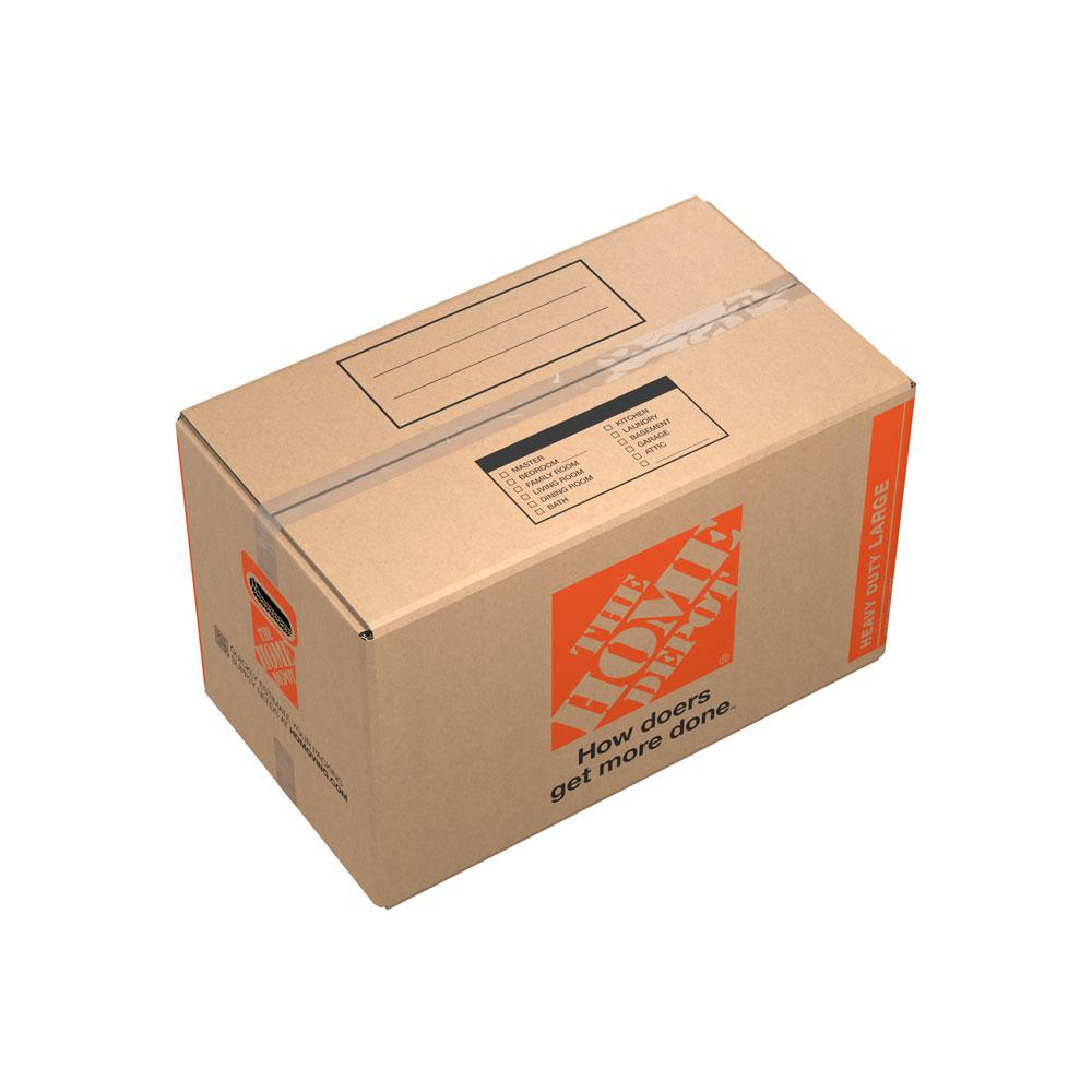 The Home Depot 27 in. L x 15 in. W x 16 in. D Heavy-Duty Large Moving Box with Handles (10-Pack) The Home Depot Large Moving Box is great for storing and shipping moderately heavy or bulky items. Ideal for kitchen items, toys, small appliances and more. This box is crafted from 100% recycled material for an environmentally responsible moving and storage option.