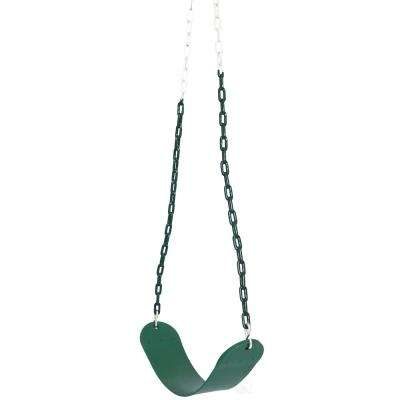 Heavy-Duty Flexible Green Belt Swing with Coated Metal Chain