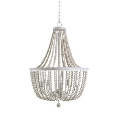 Dumas 5-Light Weathered White Wood Bead Chandelier