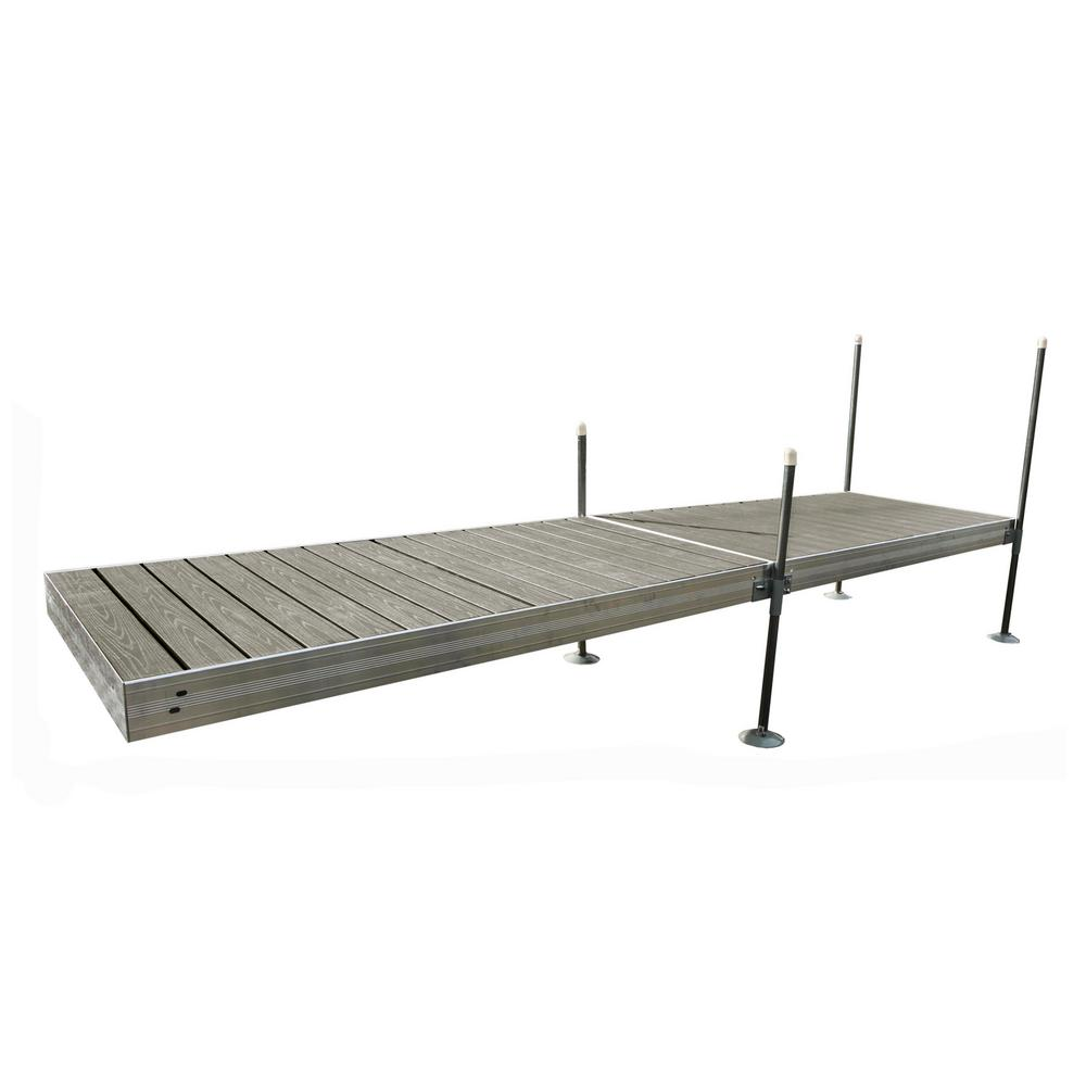 Tommy Docks 16 ft. Long Straight Aluminum Frame with Decking Complete Dock Package