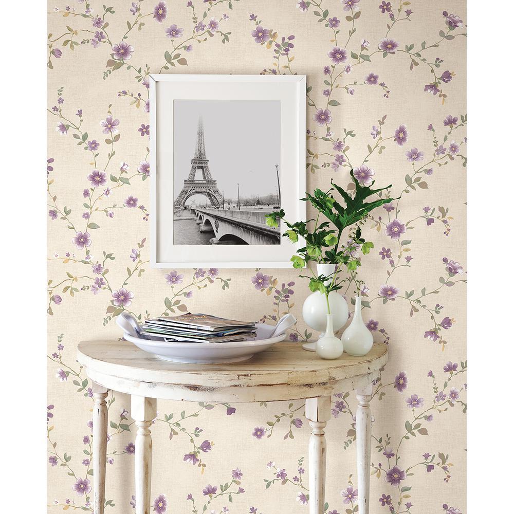 Delphine Plum Floral Trail Wallpaper