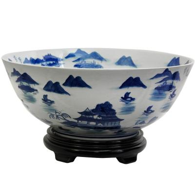 Oriental Furniture 14 in. Porcelain Decorative Bowl in Blue