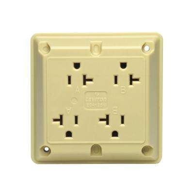 20 Amp Industrial Grade Heavy Duty 4-in-1 Grounding Outlet, Ivory