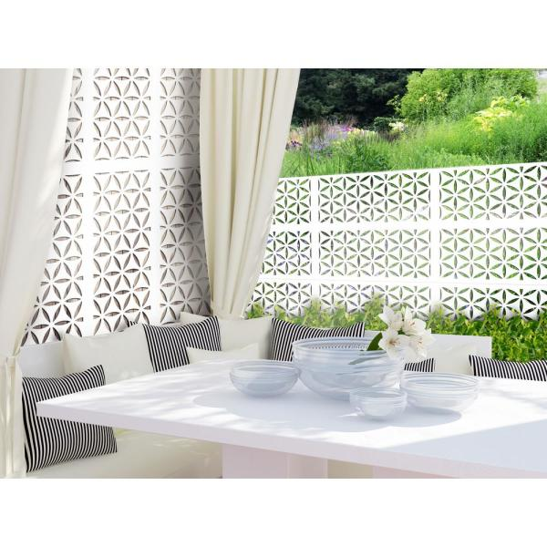 2 ft. x 4 ft. White Saki Decorative Privacy and Fence Panel