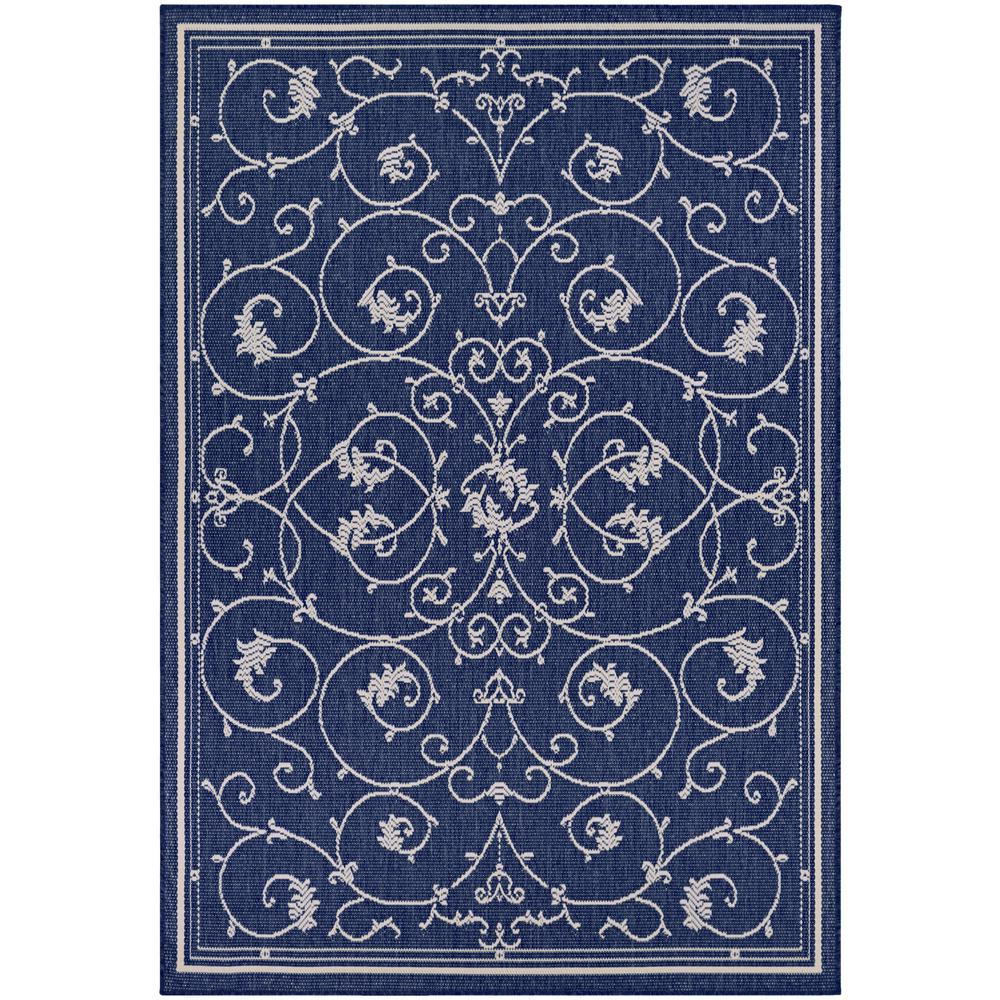 Indoor Outdoor Rugs Square: Couristan Recife Veranda Ivory-Indigo 9 Ft. X 9 Ft. Square