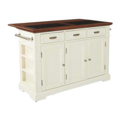 Farmhouse Basics White Kitchen Island with Vintage Oak and Granite Top