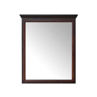 29.00 in. W x 34.00 in. H Framed Rectangular Beveled Edge Bathroom Vanity Mirror in Dark Espresso