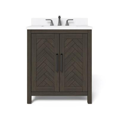 Leary 30 in. W x 34.5 in. H Bath Vanity in Dark Brown with Engineered Stone Vanity Top in White with White Basin
