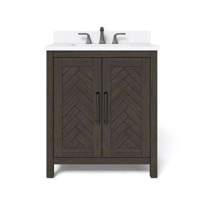 30 in. W x 34.5 in. H Bath Vanity in Dark Brown with Engineered Stone Vanity Top in White with White Basin