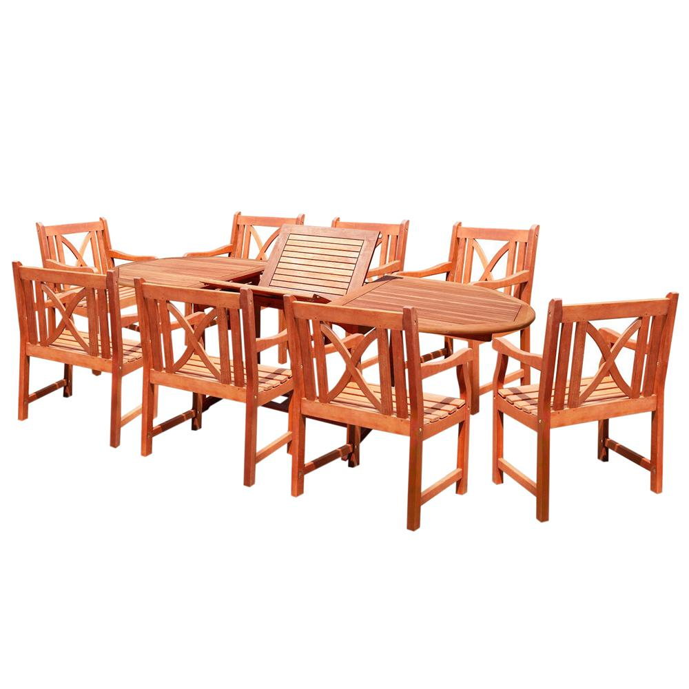 Giardino Collection Outdoor Dining: Vifah Malibu 9-Piece Wood Oval Outdoor Dining Set