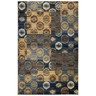 Xceed Beige Plaid Distressed Ikat Machine Made 5 ft. 2 in. x 7 ft. 3 in. Area Rug