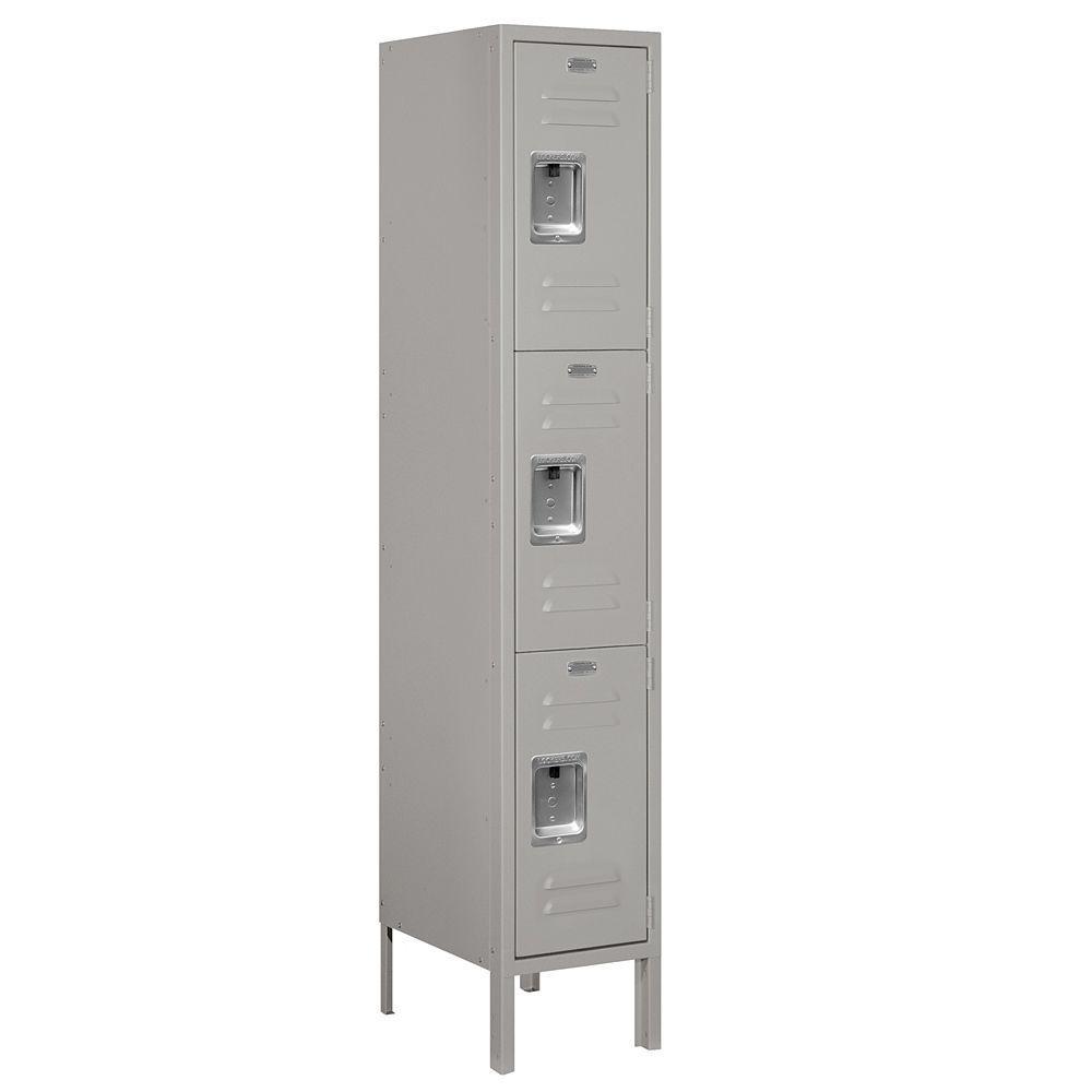 63000 Series 12 in. W x 66 in. H x 15 in. D - Triple Tier Metal Locker Unassembled in Gray