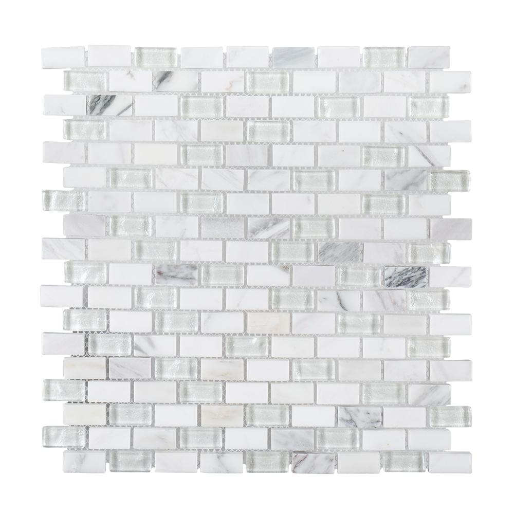 Jeffrey Court Ten Below 11-3/8 in. x 12 in. x 8 mm Stone and Glass Mosaic Tile