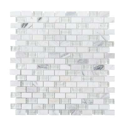 Ten Below 11-3/8 in. x 12 in. x 8 mm Stone and Glass Mosaic Tile
