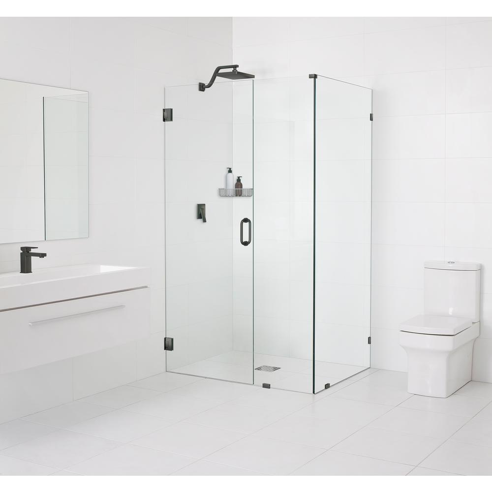 Glass Warehouse 33.5 in. x 78 in. x 34 in. Frameless Hinged Wall Shower Enclosure in Oil Rubbed Bronze