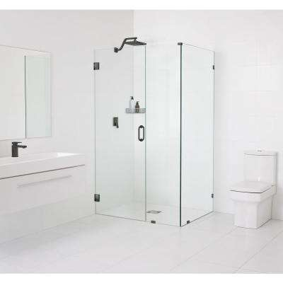 59 in. x 78 in. x 37 in. Frameless Hinged Wall Shower Enclosure in Oil Rubbed Bronze