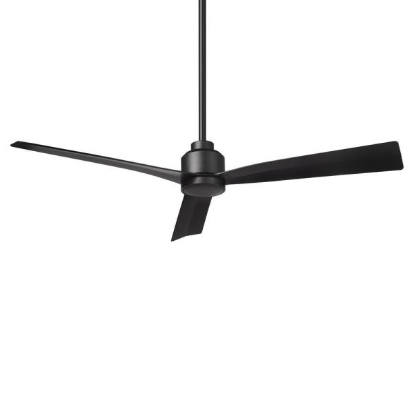 Clean 52 in. Indoor/Outdoor Matte Black 3-Blade Smart Compatible Ceiling Fan with Remote Control