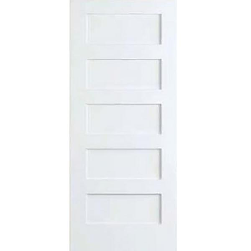 28 in. x 80 in. White 5-Panel Shaker Solid Core Wood Interior Door Slab