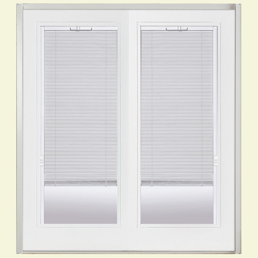 Masonite 72 in. x 80 in. Primed White Prehung Right-Hand Inswing Mini Blind Steel Patio Door with No Brickmold in Vinyl Frame