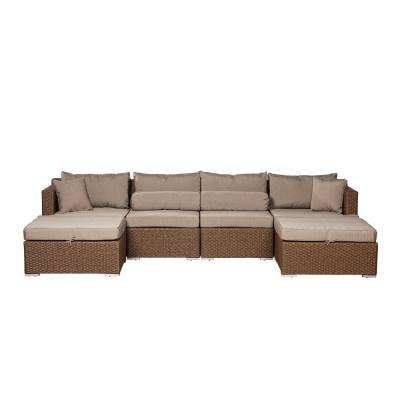Teagarden Mocha 4-Piece Wicker Outdoor Sectional with Taupe Cushions