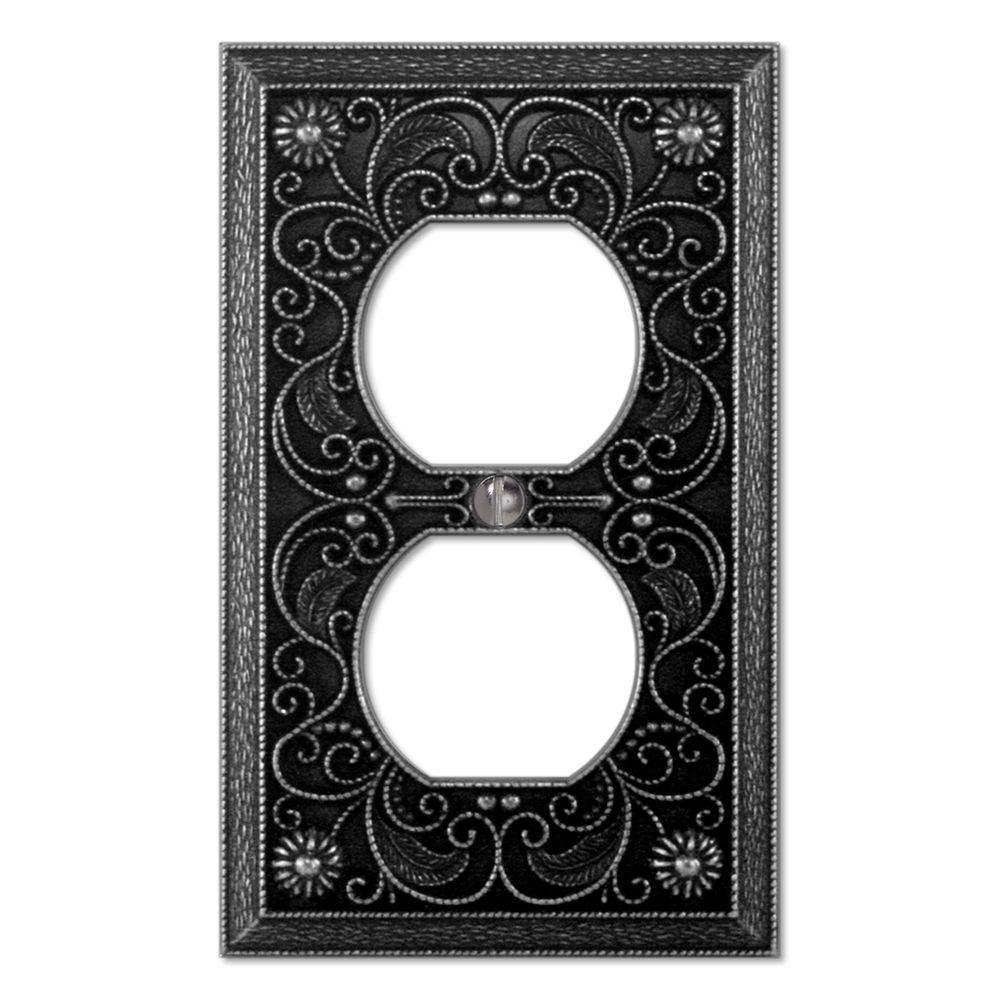 Creative Accents Arabesque 1 Duplex Wall Plate - Antique Pewter-DISCONTINUED
