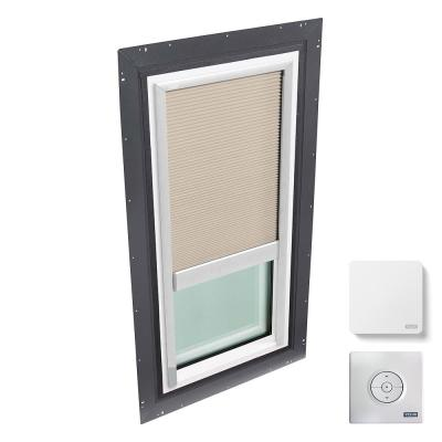 22-1/2 in. x 46-1/2 in. Fixed Self Flashed Skylight w/ Tempered Low-E3 Glass & White Solar Powered Light Filtering Blind